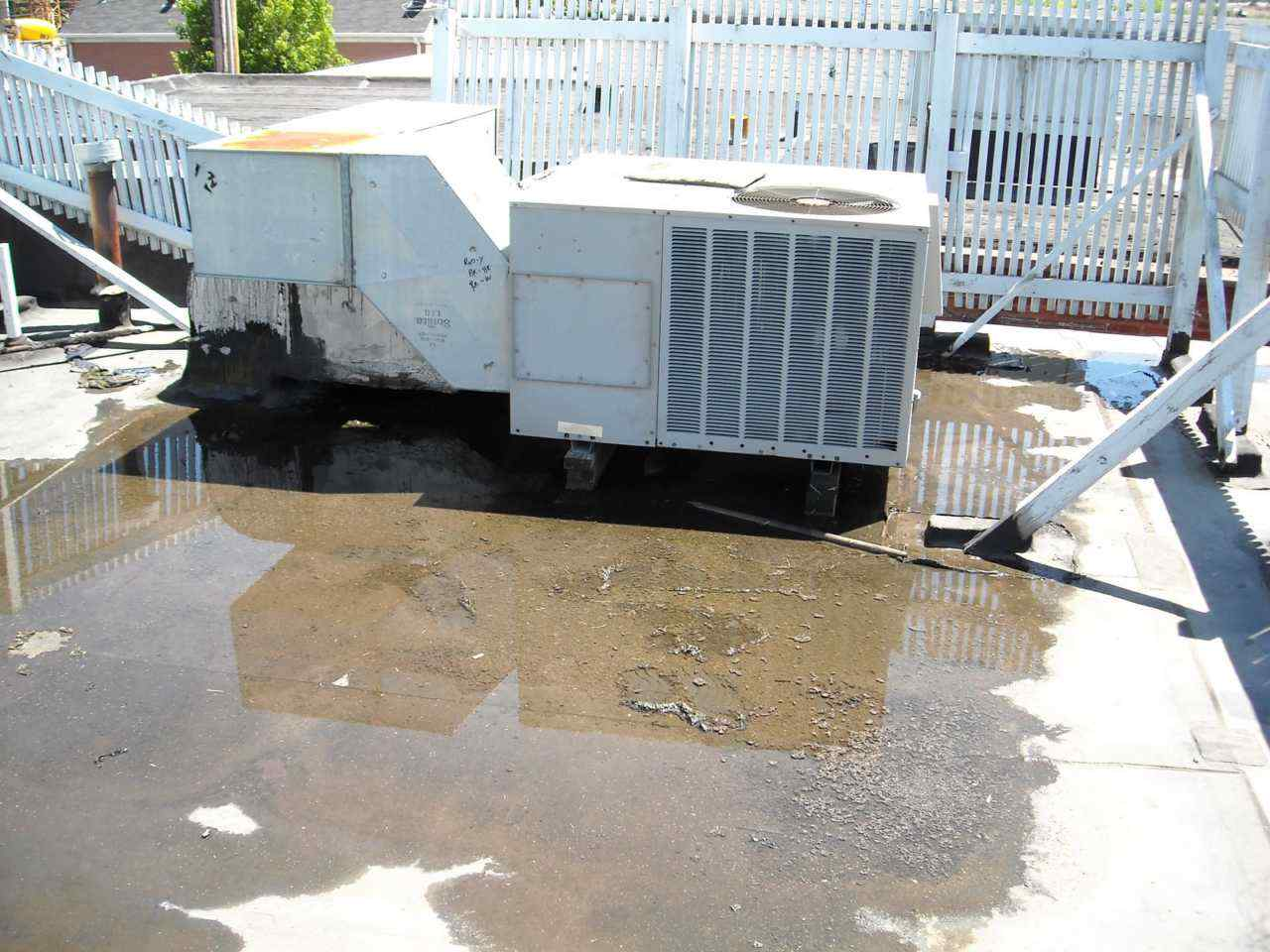 ponding water hvac units is there a connection - Roof Slope